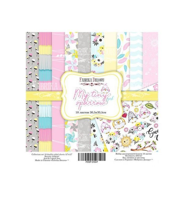 PAPEL DOBLE CARA SCRAPBOOKING SET MY TINY SPARROW GIRL- 12X 12 - FABRIKA DECORU