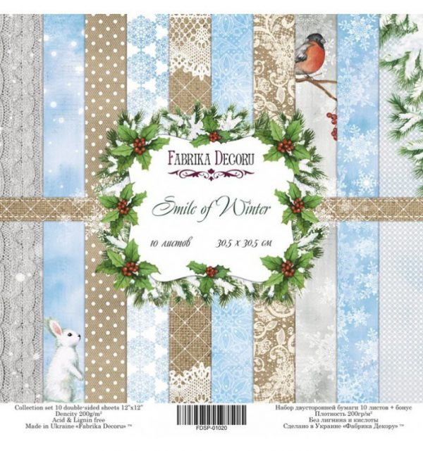 PAPEL DOBLE CARA SCRAPBOOKING SET SMILE OF WINTER- 12X 12 - FABRIKA DECORU