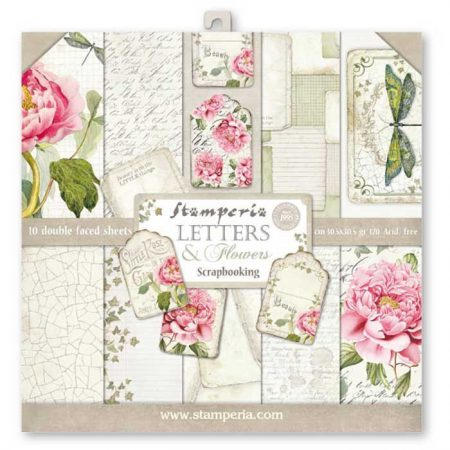 KIT DE SCRAPBOOKING LETTERS AND FLOWERS STAMPERIA 30X30CM