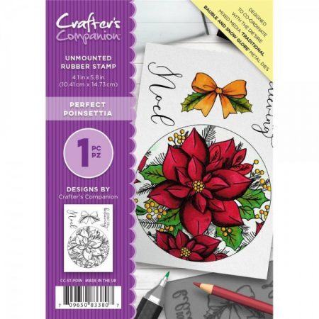 Crafter's Companion A6 Unmounted Rubber Stamp - Perfect Poinsettia